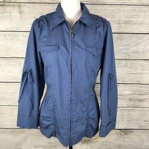 Cabi blue full zip lightweight utility jacket